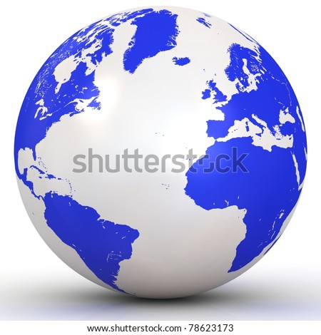 3d Globe isolated on white background - stock photo