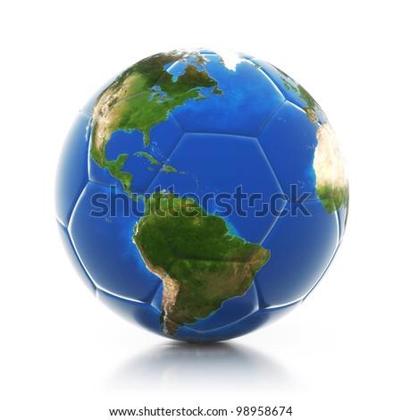 3d globe on soccer ball isolated on mirror floor. Elements of this image furnished by NASA - stock photo