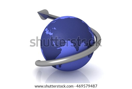 3d globe with arrow. globalization concept