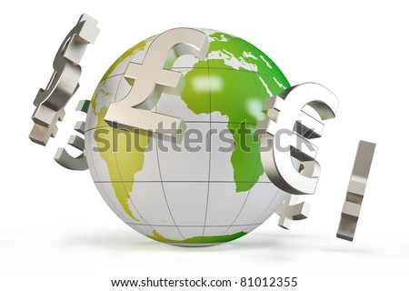 3d globe with currency symbols isolated on white - stock photo