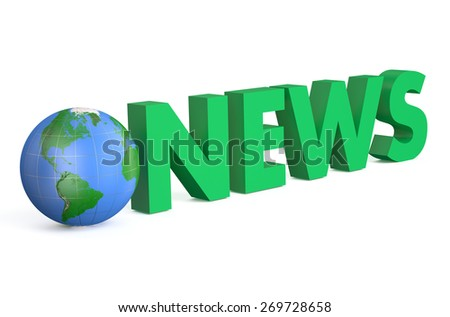 3D globe with green word News isolated on white background - stock photo