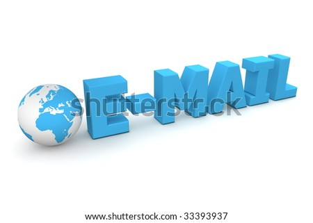 3D globe with word E-Mail in blue
