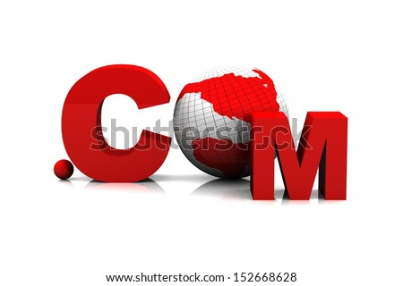 """3D Globe with Word """".Com"""" - 3D Illustration - stock photo"""