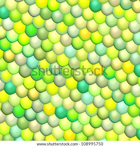 3d gloss fish scale green abstract pattern surface - stock photo