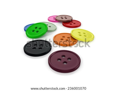 3d glossy and shinny buttons on white background render - stock photo