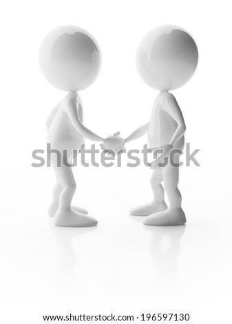 3D glossy cute characters shaking hands