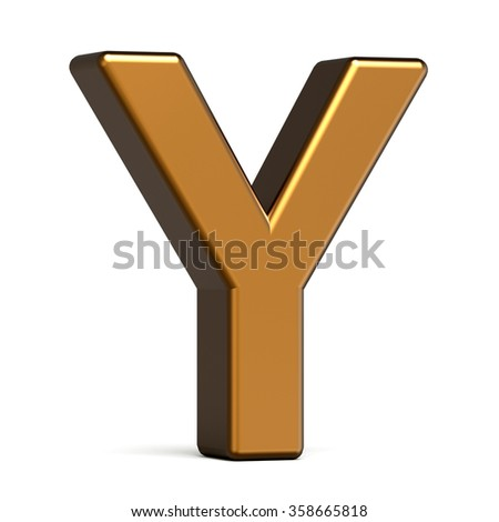 3d glossy gold letter Y isolated on white background