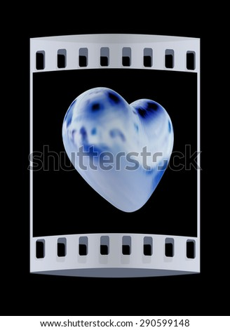 3d glossy metall heart isolated on black background. The film strip - stock photo