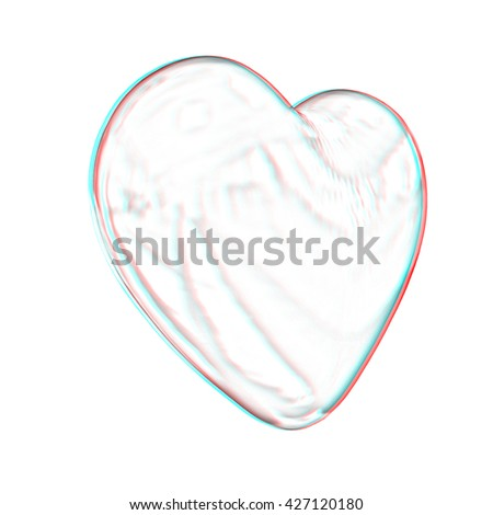 3d glossy metall heart isolated on white background. Pencil drawing. 3D illustration. Anaglyph. View with red/cyan glasses to see in 3D. - stock photo