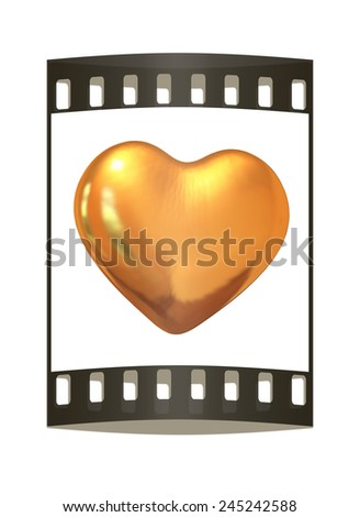 3d glossy metall heart isolated on white background. The film strip - stock photo