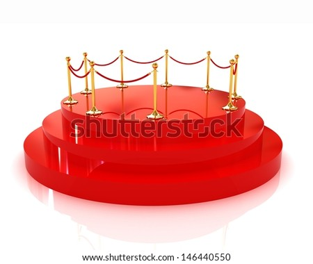 3D glossy podium with gold handrail - stock photo