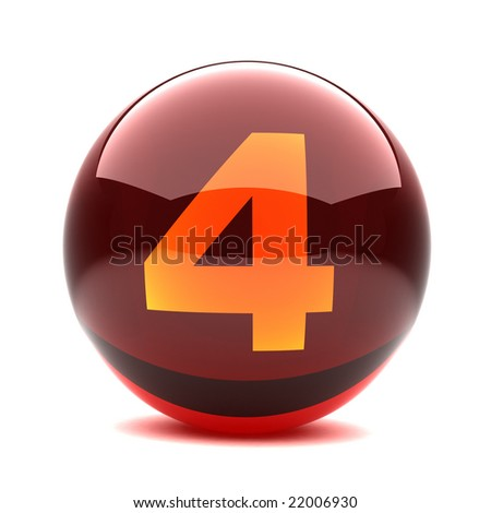 3d glossy sphere with number