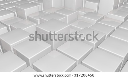 3d glossy white plastic cubes field background - stock photo