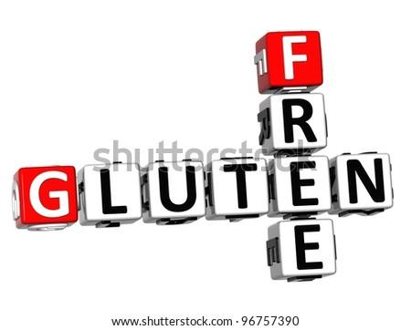 3D Gluten Free Crossword cube words on white background - stock photo