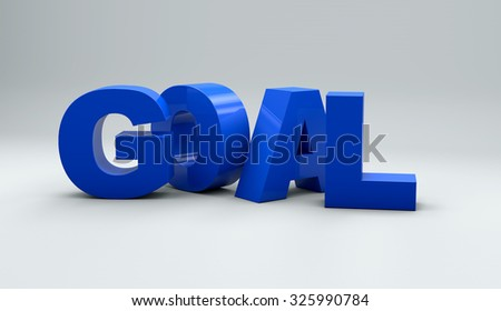 3D goal word on white isolated background
