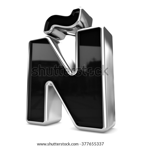 3d gold and black metal letter N? isolated white background