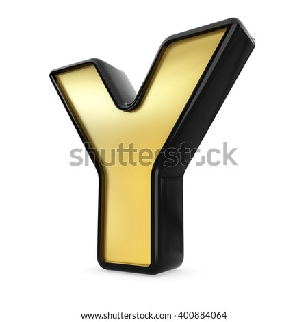3d gold and black metal letter Y isolated white background