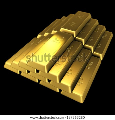 3d gold bullion in isolated background with work paths, clipping paths included