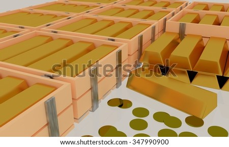 3D gold bullion in the wooden box and gold object in the white background.