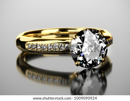3D Gold diamond Ring placed on reflection background.