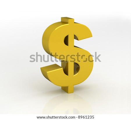 3D gold Dollar symbol with white background