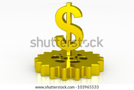 3D gold dollar with gear concept