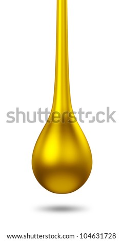 3D gold droplet. isolated - stock photo
