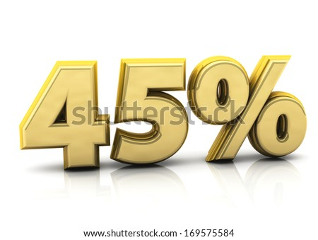 3d gold forty five percent   - stock photo