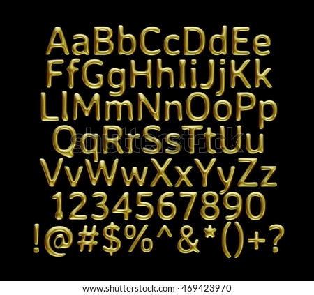 3D Gold full alphabet with number and symbol on black background.