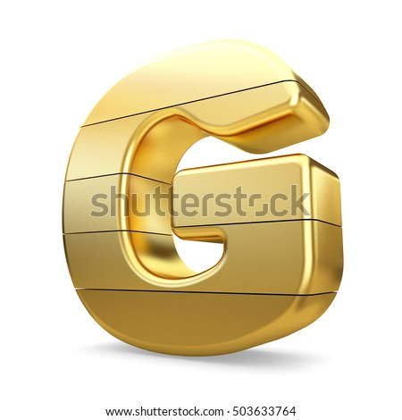 3d gold letter g isolated white background