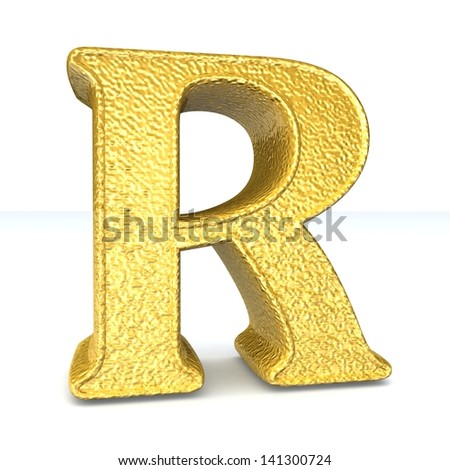 3d GOLD letter R. One letter alphabet isolated on white. Design concept