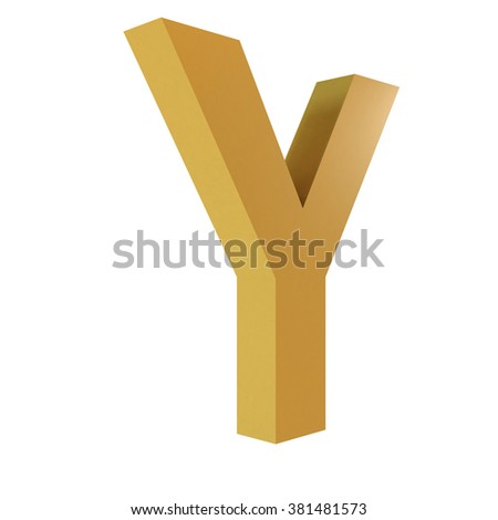 3D Gold Letter Y Isolated White Background