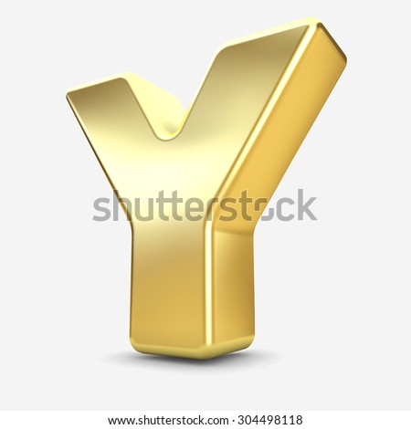 3d gold metal letter Y isolated white background