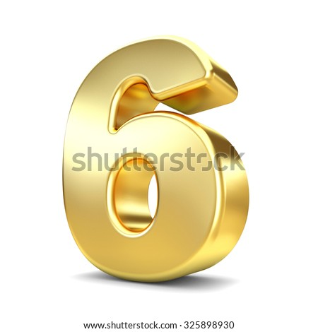 3d gold metal number 6 six isolated white background - stock photo