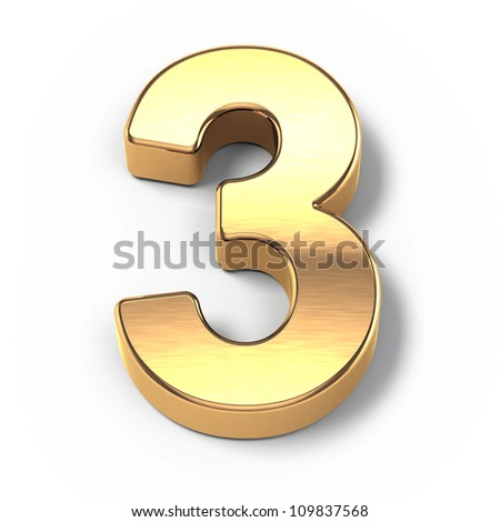3d Gold metal numbers - number 3 - stock photo