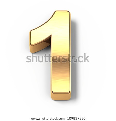 3d Gold metal numbers - number 1 - stock photo