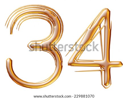 3d Gold metal numbers - number 3 & 4