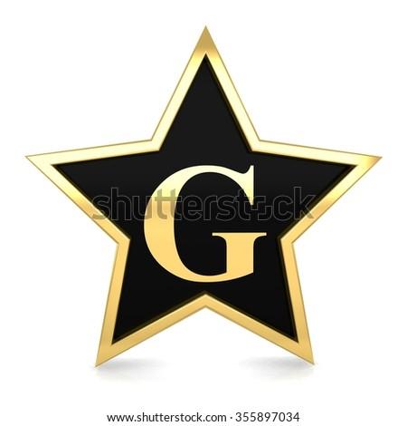 3d gold metal star alphabet with golden letter g render - stock photo