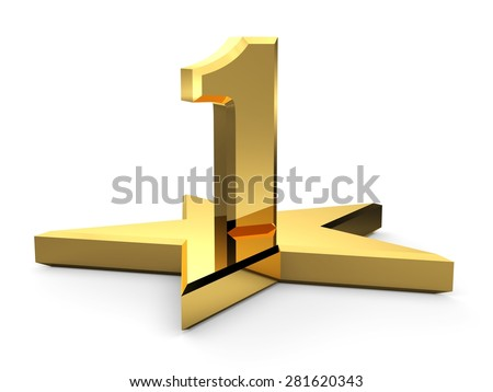 3d gold number 1 and star. One number and star