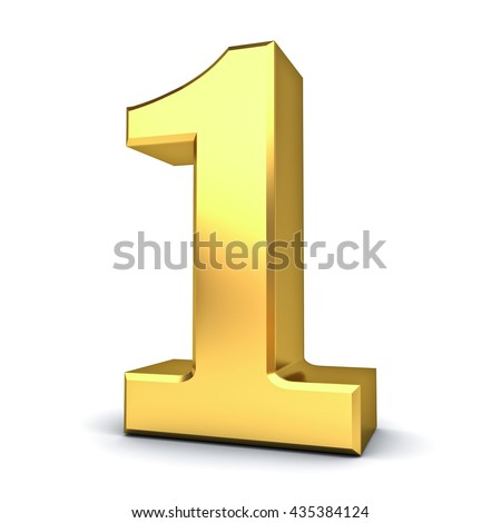 3D gold number one isolated over white background. 3D rendering.