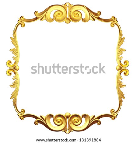 3d gold ornament on a white background