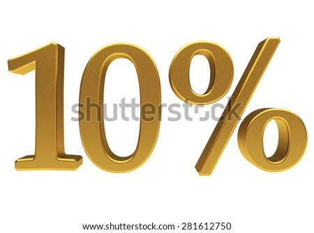 3D, gold 10 percent isolated - stock photo