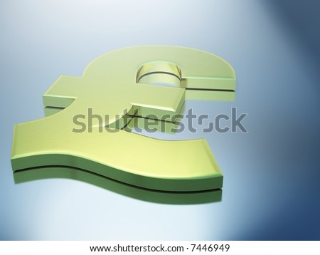 3D Gold Pound Sign sitting on Metallic Surface with Blurred Reflections - stock photo