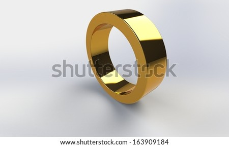 3d Gold ring hollow cylinder  isolated on white - stock photo