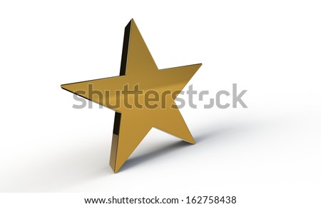 3d gold star isolated on white - stock photo
