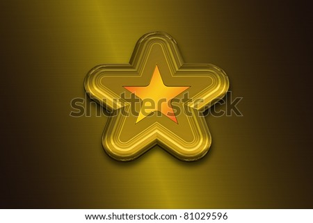3D Gold Star on a Golden Background - stock photo