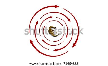 3d Gold target Euro - stock photo