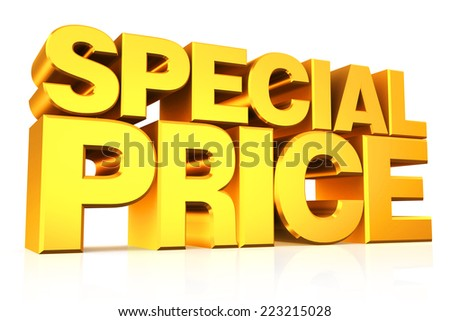 3D gold text special price on white background with reflection. - stock photo