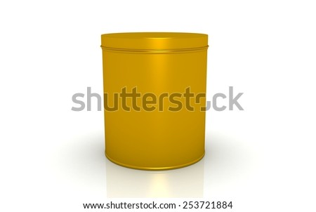 3d gold tin isolated on white background - stock photo