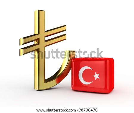 3D Gold TL Symbol with Turkish flag (Turkish Liras) isolated - stock photo